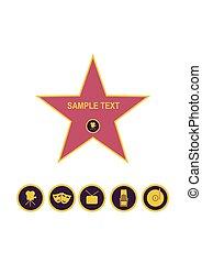 catégorie, étoile, icônes, isolé, illustration, promenade, arrière-plan., vecteur, cinq, signes, blanc, renommée