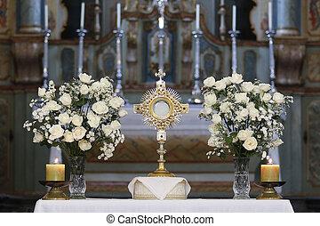 católico, adoración, ostensorial, iglesia