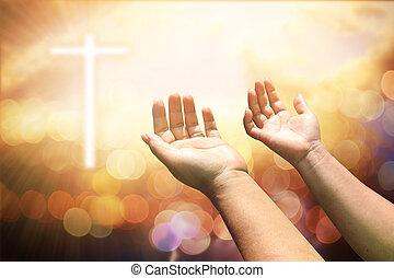 católico, conceito, cristão, worship., deus, mãos, eucaristia, mente, cima, repent, pray., ajudando, experiência., palma, human, emprestado, terapia, abençoar, abertos, páscoa