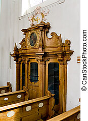 católico, confessionário, igreja