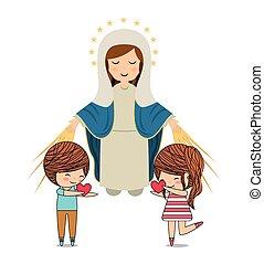católico, desenho, amor