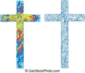 católico, feriado, pascua, cruz, adornado