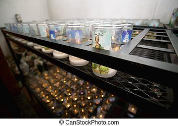 católico, igreja, devotional, velas