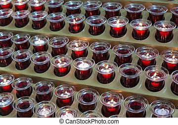 católico, igreja, vermelho, velas