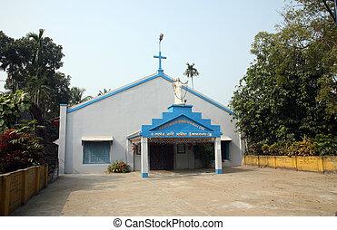 católico, oeste,  India, bengala,  kumrokhali, iglesia
