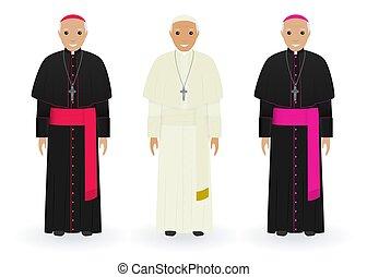 católico, priests., religión, característica, personas., aislado, papa, fondo., cardinal, obispo blanco, ropa