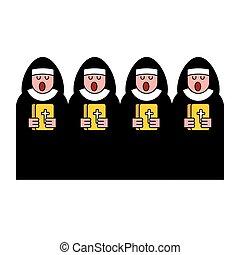 católico, religioso, monja, choir., woman., canto, monástico