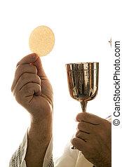 católico, sacerdote, comunión, adoración, durante