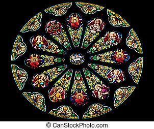 católico, san, f, rosa, ventana de cristal de colores,...