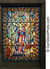 católico, ventana, 2, cristal manchado