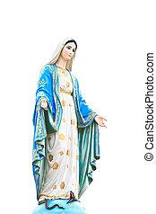 católico, virgem, romana, estátua, igreja, mary