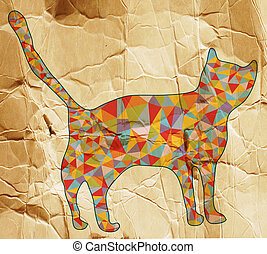Cat abstract with mosaic design on paper texture