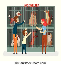 Cat ahelter, family adopting cat pet from animal shelter vector Illustration on a white background