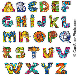 cat alphabet - colorful funny abc