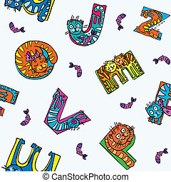 cat alphabet seamless pattern