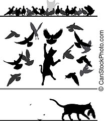 Cat amongst pigeons - Editable vector silhouette sequence of...