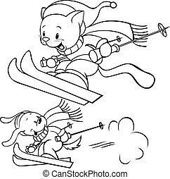 cat an dog skiing