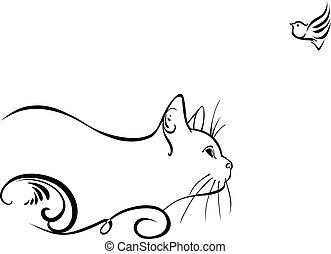 Cat and a bird - A cat watching little bird, vector...