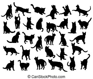 Cat and Activity Pet Animal Silhouettes, art vector design
