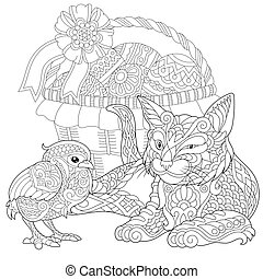Coloring Page of Cat and Baby Chicken for adult coloring book.