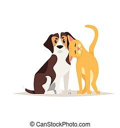 cat and beagle dog friendship