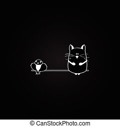 cat and bird on the black background. vector