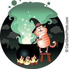 Cat and boiling cauldron