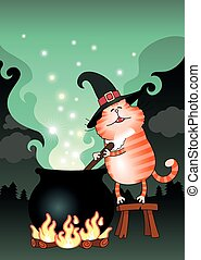 Cat and boiling cauldron - Illustration of the cat and...