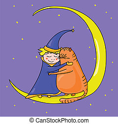 Cat and boy on the moon