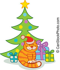 Cat and christmas tree
