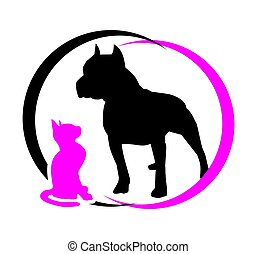 cat and dog. black and magenta