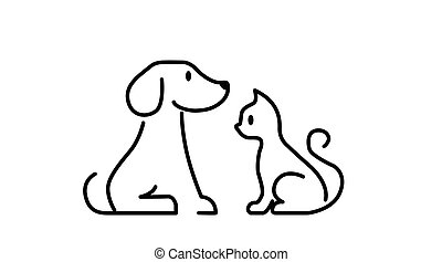 Cat and Dog Black and White Icon.