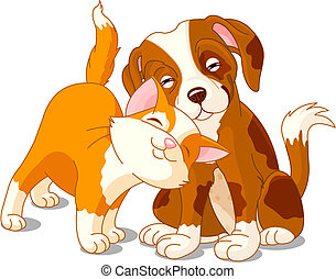 Cat and dog - Brown dog and red cat love one anther