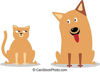 Cat and Dog characters. Cartoon styled vector