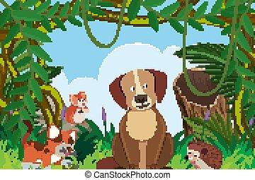 Cat and dog in jungle scene