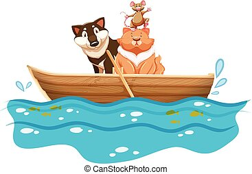 Cat and dog in the rowboat