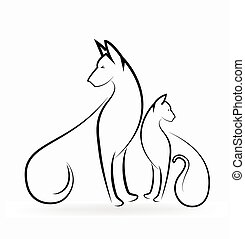 Cat and dog logo stylized silhouette vector icon design