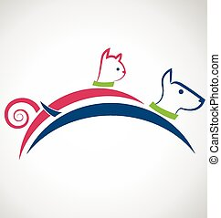 Cat and dog logo - Pets jumping colorful icon identity ...