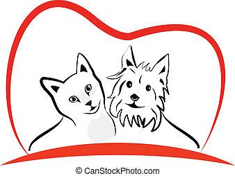 Cat and dog love heart logo