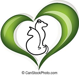 Cat and dog love heart logo