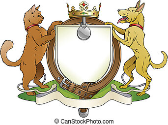 Cat and dog pets heraldic shield coat of arms. Notice the...