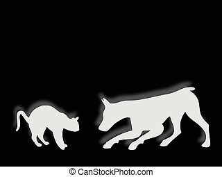 Cat and dog playing - Funny cat and dog silhouette playing...