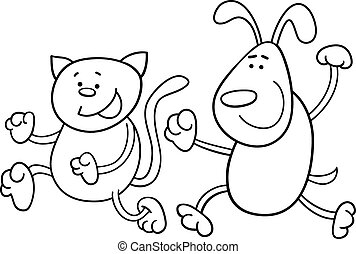 cat and dog playing tag coloring page - Black and White...