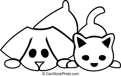 Cat and dog puppies silhouette logo