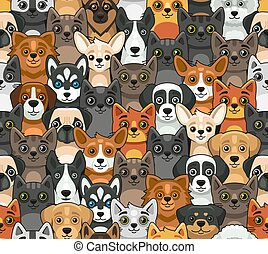 Cat and Dog Seamless Pattern. Cute Cartoon Style. Vector