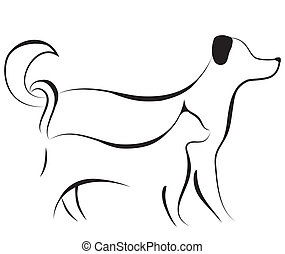 Cat and dog sketch vector - Cat and dog friend logo sketch...