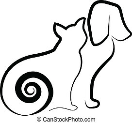 Cat and dog stylized silhouette - Vector of cat and dog ...