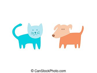 Cat and dog vector illustration