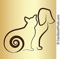 Cat and dog vintage logo