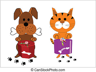 cat and dog with presents